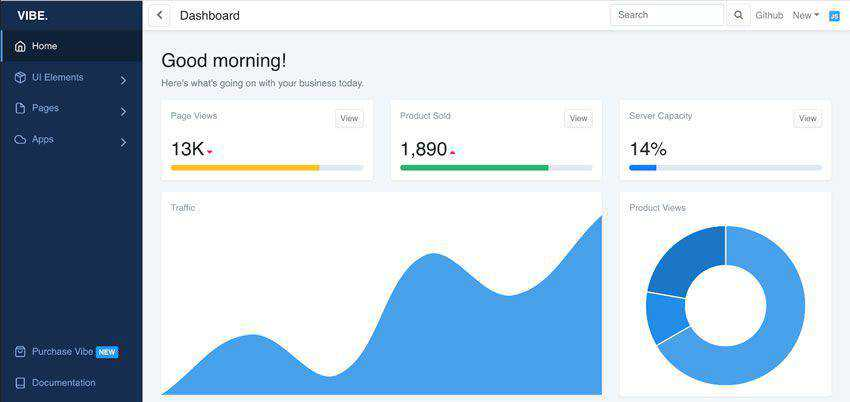 Vibe Free Bootstrap 4 Dashboard Template