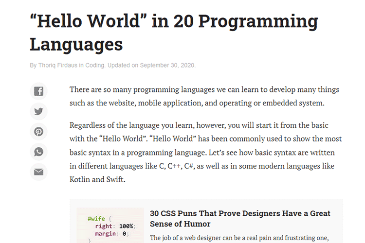 "Example from ""Hello World"" in 20 Programming Languages"