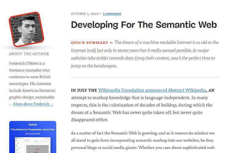 Exemple de développement pour le Web sémantique
