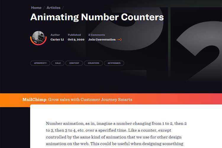 Exemple d'animation de compteurs de nombres