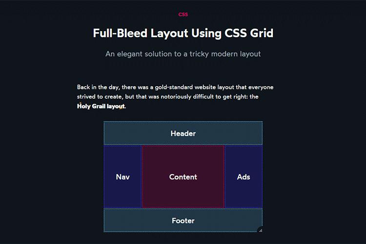 Exemple de mise en page à fond perdu à l'aide de la grille CSS