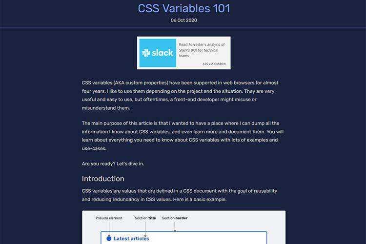 Exemple à partir des variables CSS 101