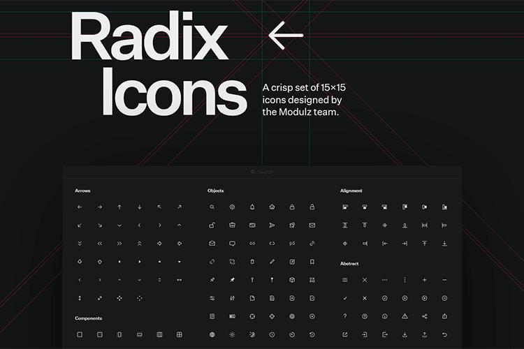 Exemple d'icônes Radix