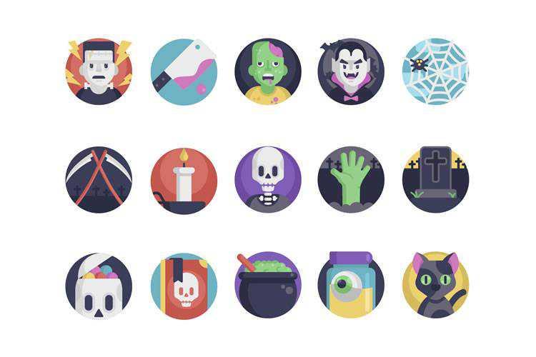 Exemple du pack d'icônes Halloween gratuit