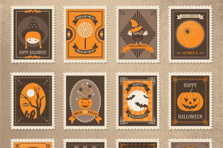 Exemple de Freebie: Timbres d'Halloween Vector Vintage
