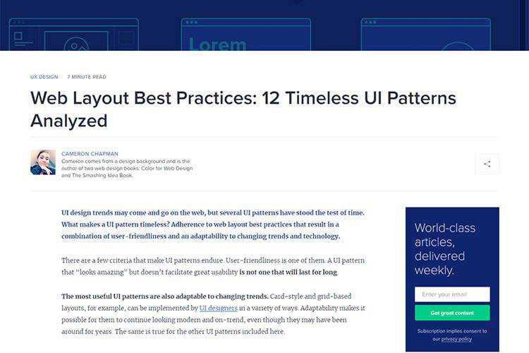 Example from Web Layout Best Practices: 12 Timeless UI Patterns Analyzed