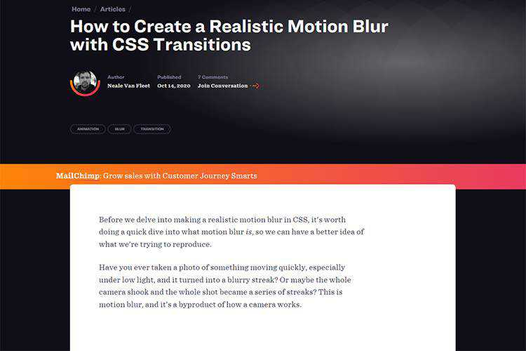 Example from How to Create a Realistic Motion Blur with CSS Transitions