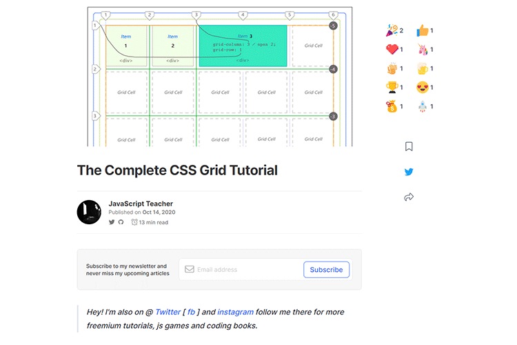 Example from The Complete CSS Grid Tutorial