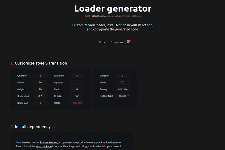 Example from Loader generator