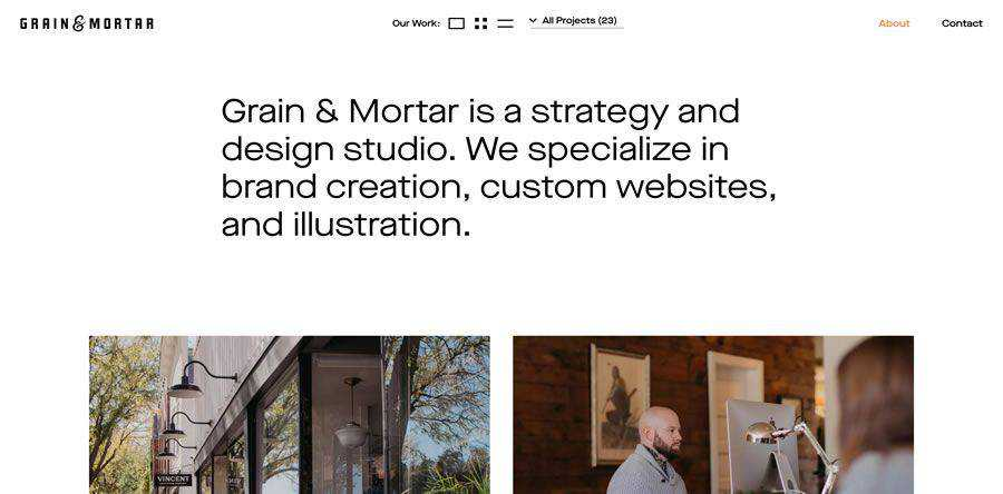 Grain & Mortar about team employee page web design inspiration