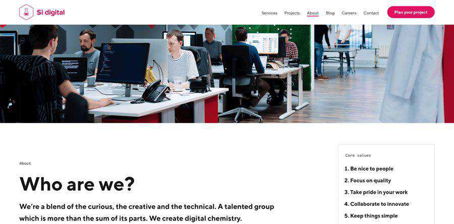 Si Digital about team employee page web design inspiration
