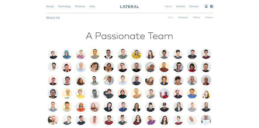 Lateral about team employee page web design inspiration