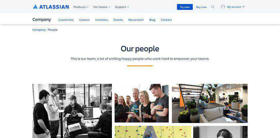 Atlassian about team employee page web design inspiration