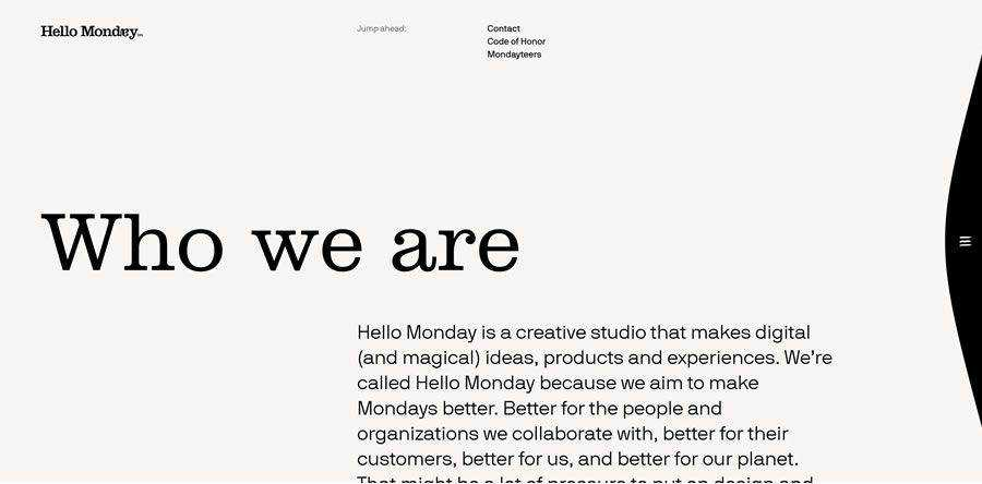 Hello Monday about team employee page web design inspiration