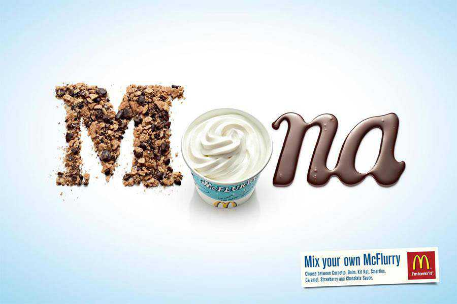 The McDonald's McFlurry Mona inspirational typography print ads