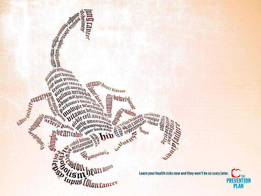 The US Preventive Medicine / The Prevention Plan - Scorpion inspirational typography print ads