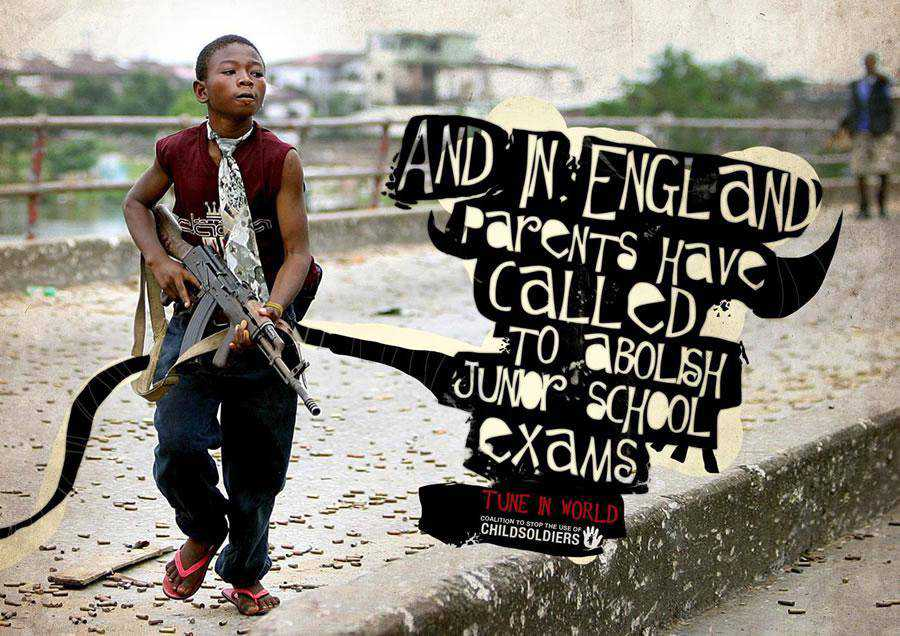 The Coalition to Stop the Use of Child Soldiers - England inspirational typography print ads