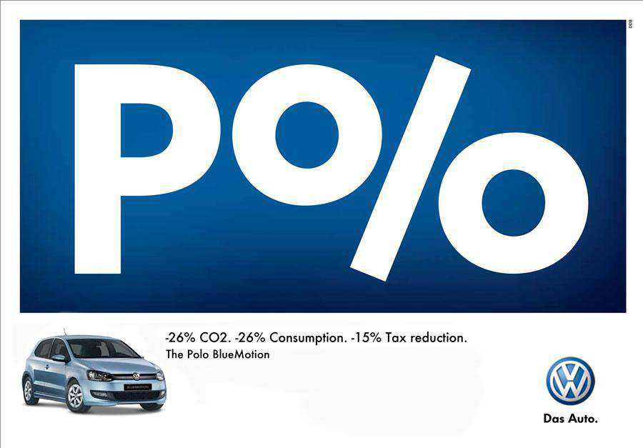 The Volkswagen Polo - Percent inspirational Typography in Print Ads