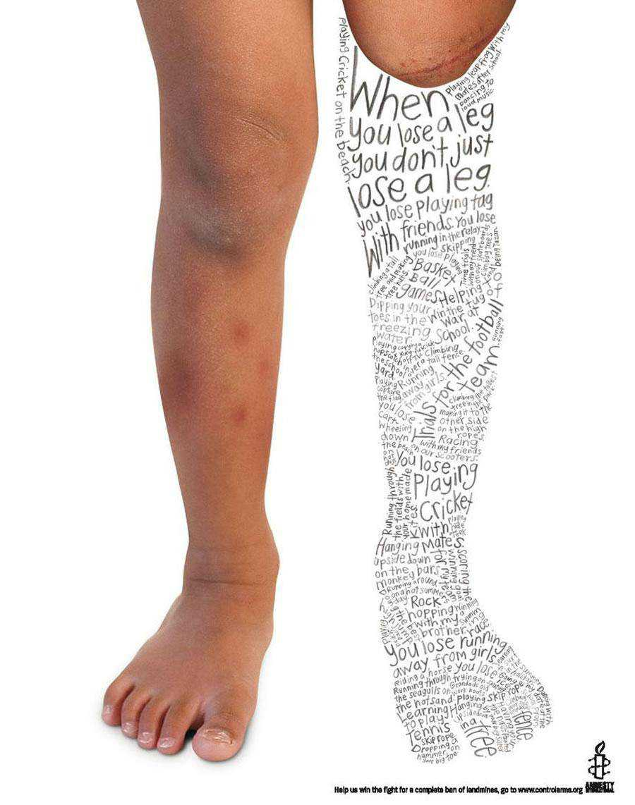 The Amnesty International - Leg inspirational typography print ads
