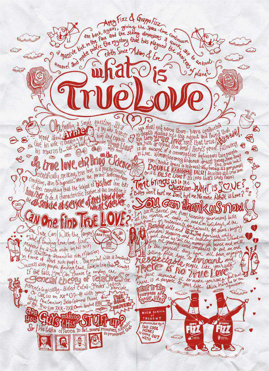 The Appy Fizz, Grappo Fizz - True Love inspirational typography print ads
