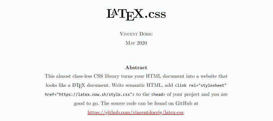 Example from LaTeX.css