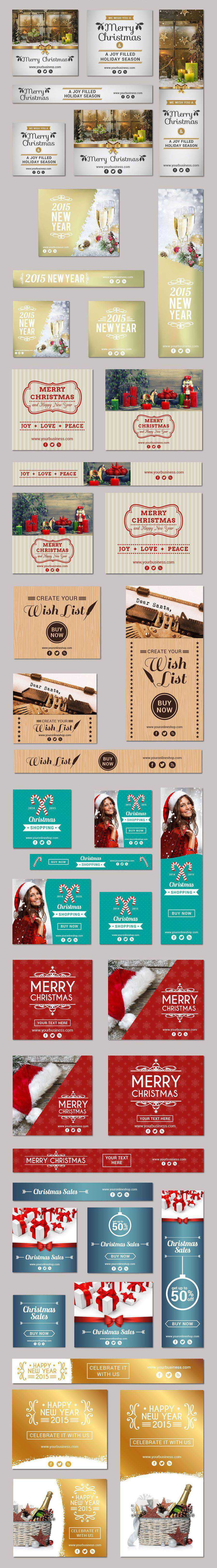 free Vector Christmas Banner Set Preview