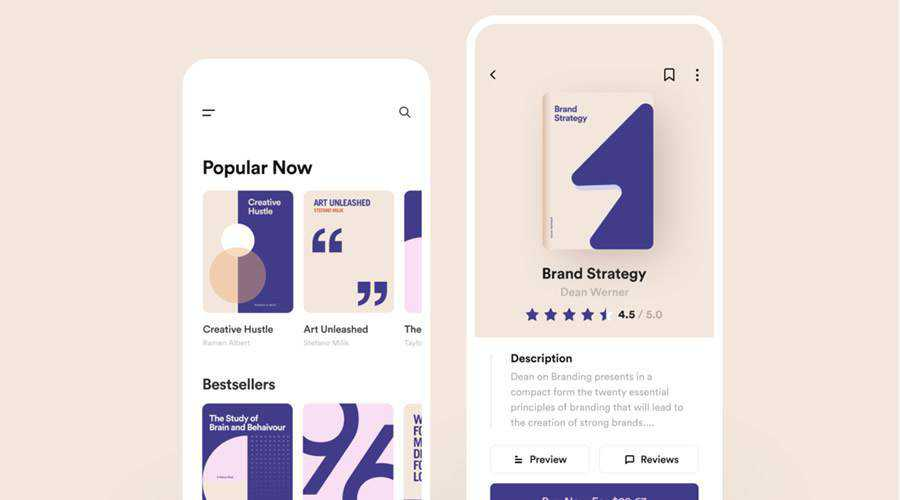 Book Store free mobile app ui kit Figma ios android