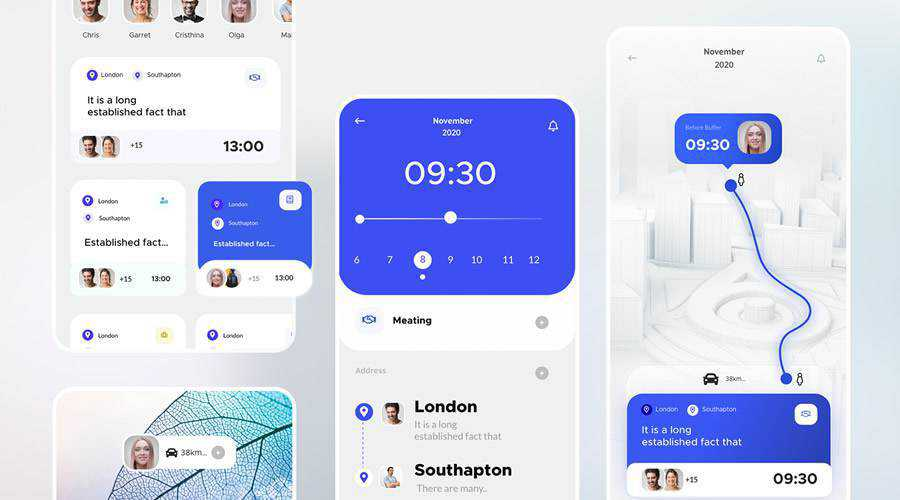 Calender Appointment free mobile app ui kit Adobe XD ios android