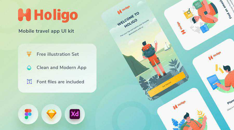 Holigo free mobile app ui kit Adobe XD Figma Sketch ios android