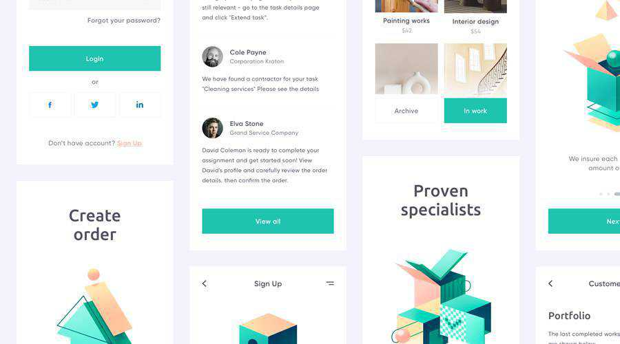 Outcrowd free mobile app ui kit Sketch Figma ios android
