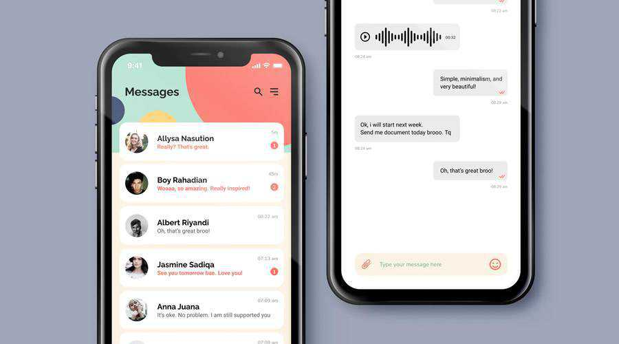 Chat Messaging free mobile app ui kit Figma Photoshop PSD ios android