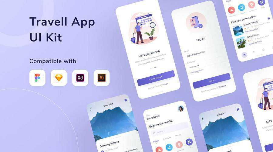 Travel free mobile app ui kit Figma Sketch Adobe XD Photoshop PSD Illustrator AI SVG ios android
