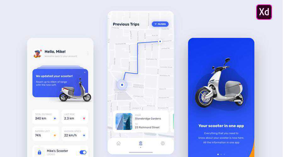 e-Scooter free mobile app ui kit Adobe XD ios android
