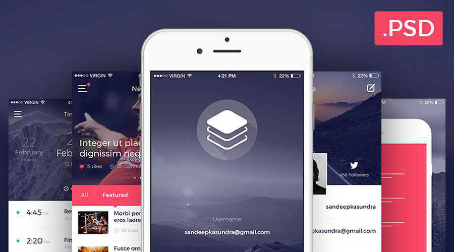 Clean Modern iOS free mobile app ui kit Photoshop ios android