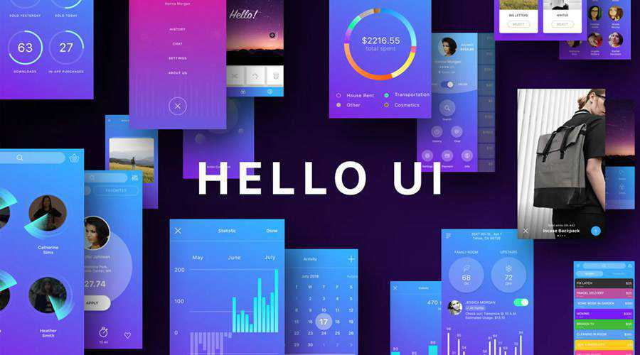 Hello free mobile app ui kit Sketch ios android