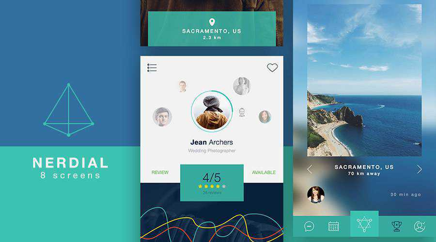 Nerdial free mobile app ui kit Sketch Photoshop ios android
