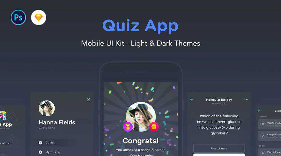 Quiz free mobile app ui kit Sketch Photoshop ios android