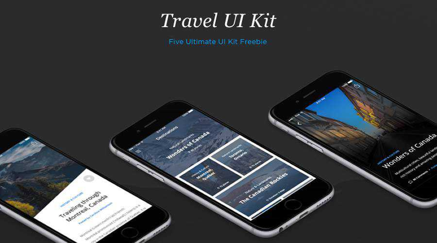 Travel free mobile app ui kit Sketch ios android