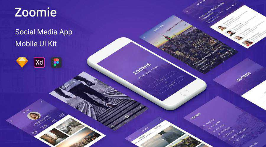 Zoomie Social Media free mobile app ui kit Figma Sketch Adobe XD ios android