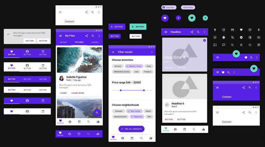Material UI Design Library free mobile app ui kit ios android