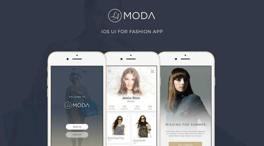 LaModa Fashion iOS free mobile app ui kit Photoshop psd ios android