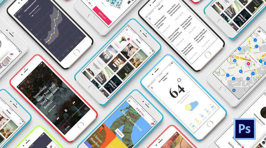 Portal free mobile app ui kit Photoshop psd ios android