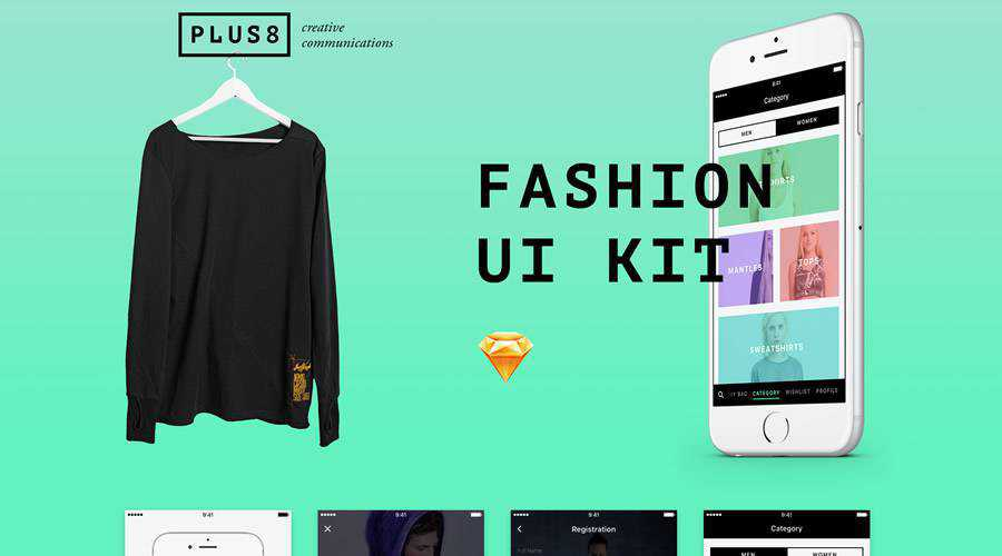 Fashion free mobile app ui kit Sketch ios android
