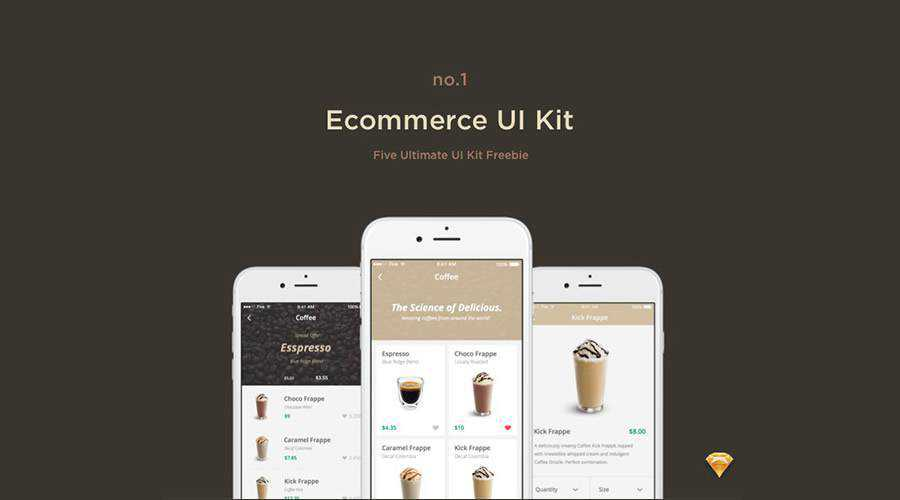eCcommerce free mobile app ui kit Sketch ios android