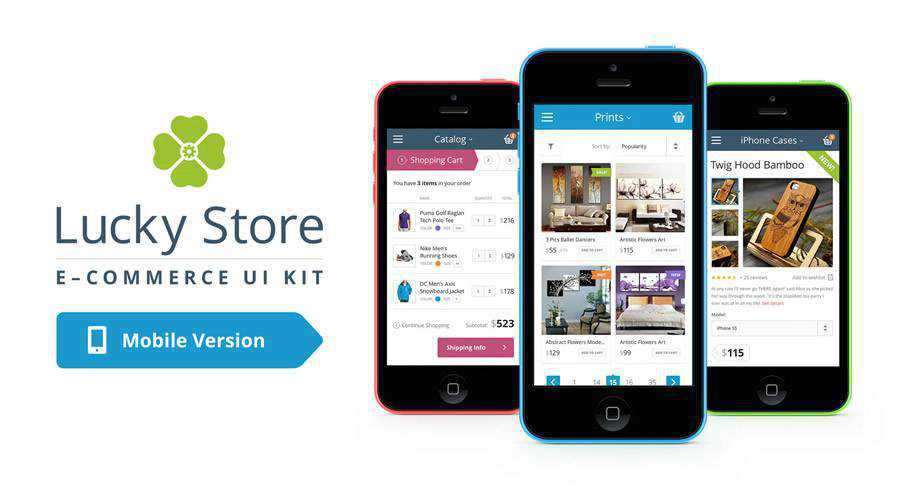 Lucky Store free mobile app ui kit Photoshop psd ios android