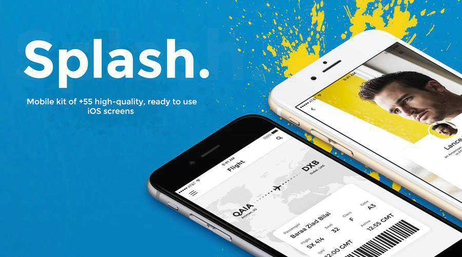 Splash free mobile app ui kit Photoshop psd ios android