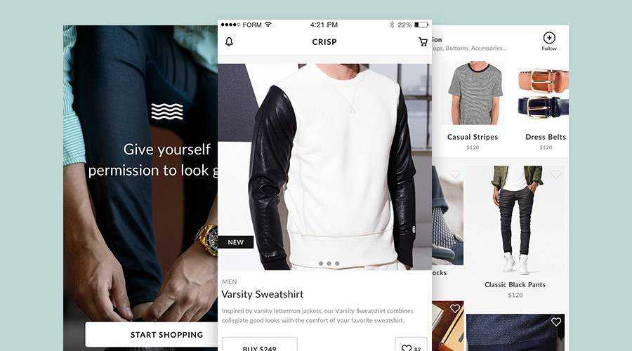 Crisp Free Ecommerce mobile app ui kit Sketch ios android