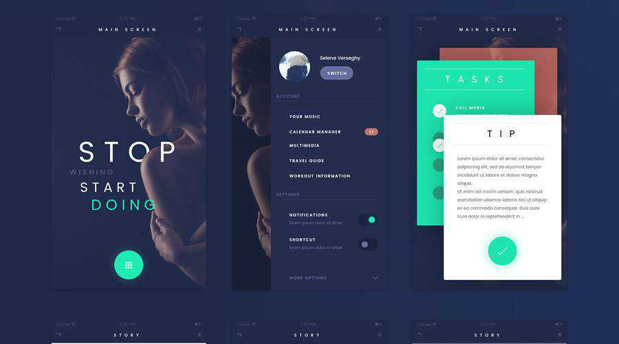 Fade free mobile app ui kit Photoshop psd ios android