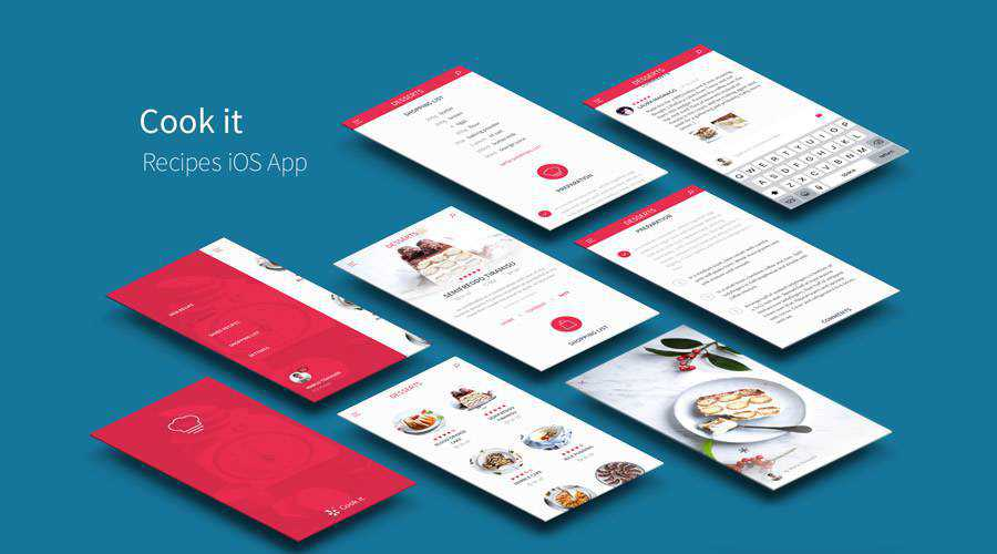 Recipes free mobile app ui kit Sketch ios android