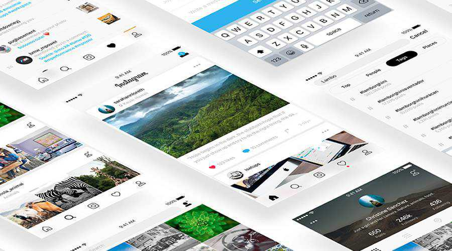 Instagram free mobile app ui kit Sketch ios android